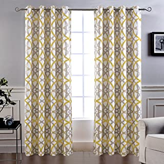 DriftAway Alexander Thermal Blackout Grommet Unlined Window Curtains Spiral Geo Trellis Pattern Set of 2 Panels Each Size 52 Inch by 84 Inch Yellow and Gray