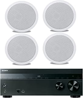 """Sony 5.2-Channel 725-Watt 4K A/V Home Theater Receiver + Polk Easy-to-Install High-Performance Surround Sound 8"""" 2-Way in-ceiling Speaker System (Set Of 4)"""