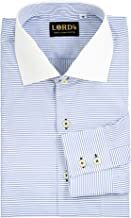 LORD's Men's Horizontal Striped Regular-Fit Cotton Shirt