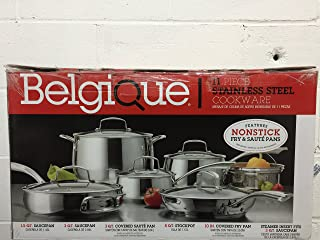 Belgique Stainless Steel 11 Piece Cookware Set with Nonstick Saute Pan & Fry Pan