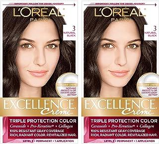 L'Oréal Paris Excellence Créme Permanent Hair Color, 3 Natural Black (2 Count) 100% Gray Coverage Hair Dye