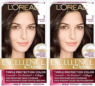 L'Oréal Paris Excellence Créme Permanent Hair Color, 3 Natural Black, 2 COUNT 100% Gray Coverage Hair Dye