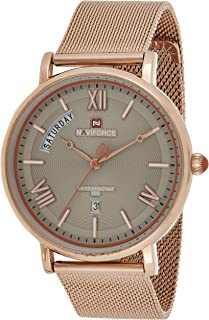 Naviforce Men's Gray Dial Stainless Steel Mesh Analogue Classic Watch - NF3006-RGGY