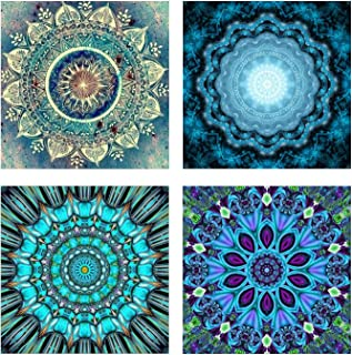 4 Pack 5D DIY Diamond Painting Set Decorating Cabinet Table Stickers Full Drill Rhinestone Diamond Embroidery Paintings Pictures, Mandala Flower Painting(25X25CM/9.8X9.8inch)