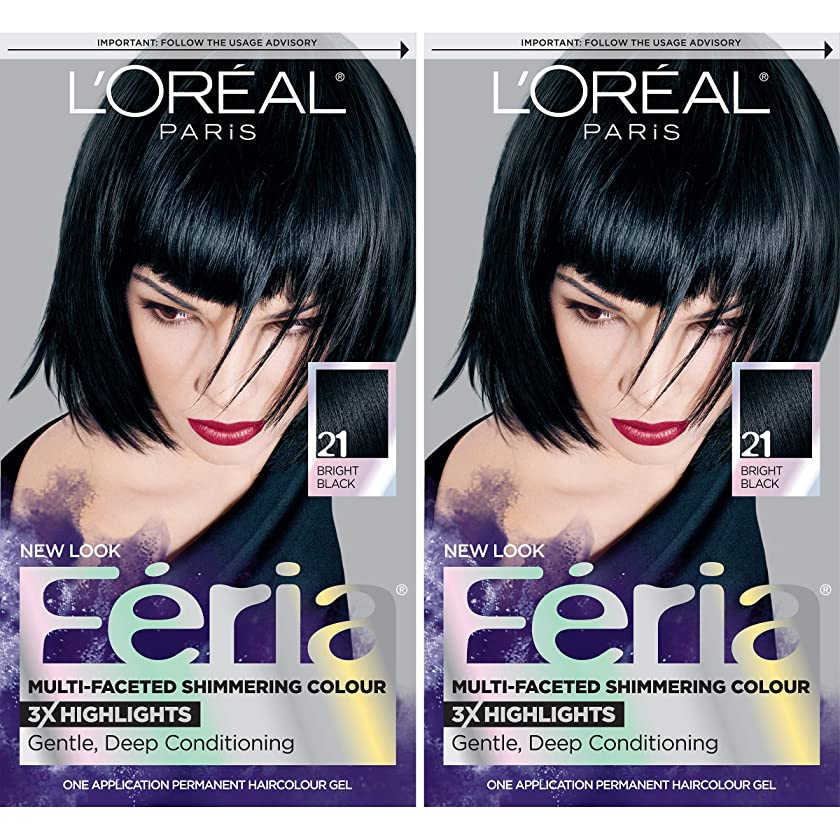 L'Oréal Paris Feria Multi-Faceted Shimmering Permanent Hair Color, 21 Starry Night, 2 COUNT Hair Dye