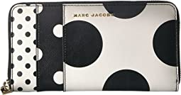 Saffiano Metal Letters Polka Dot Standard Continental Wallet