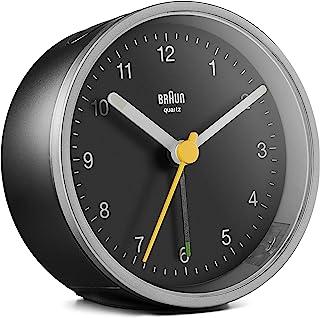 Braun klassisk analog väckarklocka med lummerfunktion och ljus, tyst kvartsurverk, Crescendo-alarm i svart och silver, mod...
