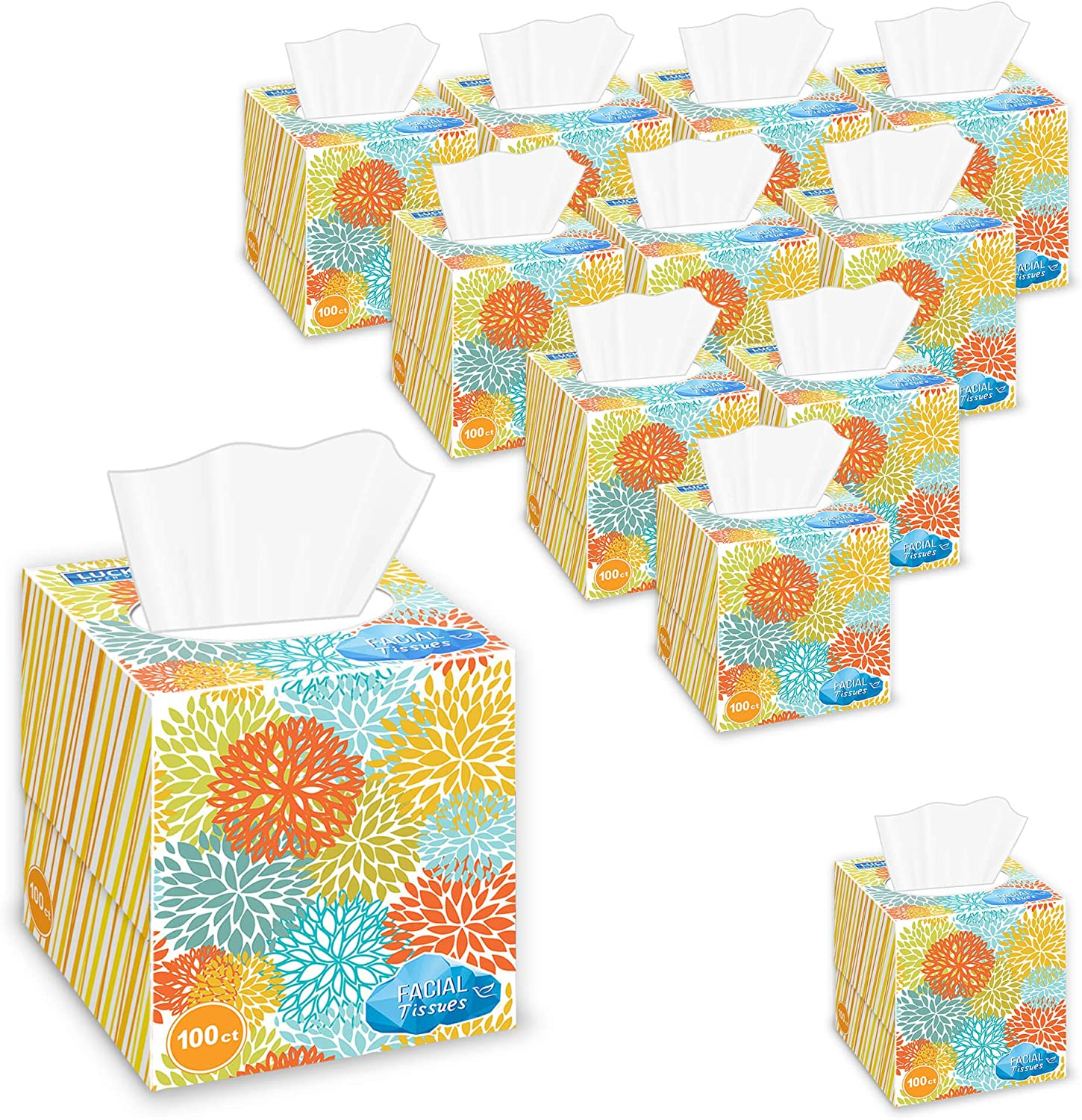Lucky Super Soft Facial Tissues With Tissue wholesale Boxes Cube 12 gift