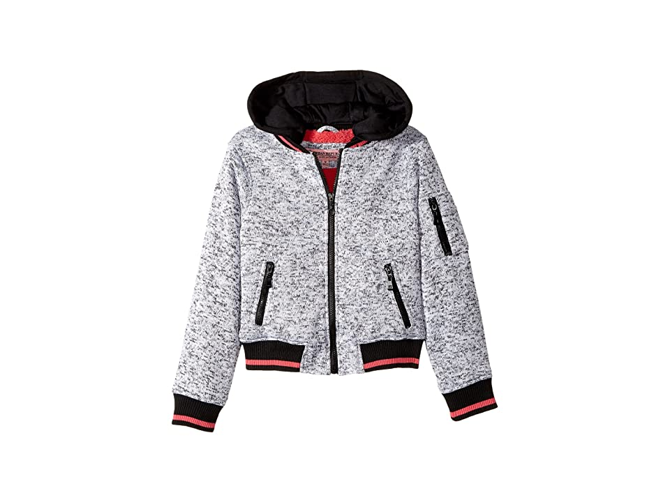 Urban Republic Kids Melange Fleece Bomber with Woobie Lining (Little Kids/Big Kids) (Heather Grey) Girl