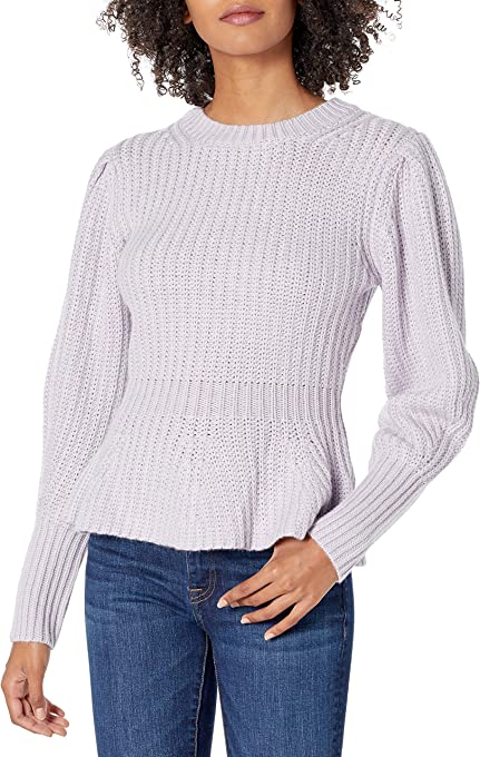 The Drop Women's Juliette Long Balloon-Sleeve Peplum Ribbed Sweater