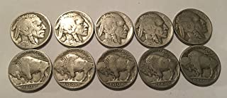 10 Buffalo Nickels 1924-1937 Good