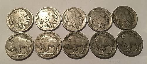 10 Buffalo Nickels 1924-1937 Good