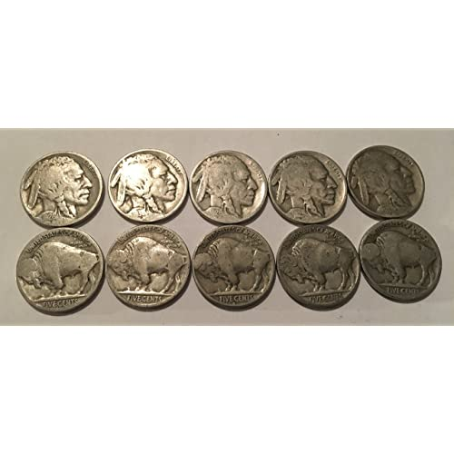 d813e8571a25 10 Buffalo Nickels 1924-1937 Good