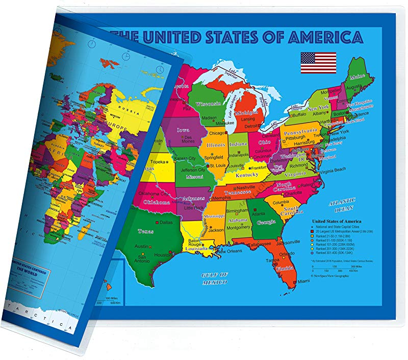 NewSpaceView Natural Learning Children S Placemat USA USA Centered World Map 1 Pack