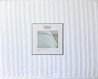 Piu Belle Portugal Solid White Matelasse Bedspead Coverlet with a Textured Woven Vertical Stripe Pattern (King)