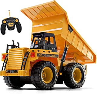 Top Race Remote Control Construction Dump Truck Toy, RC Dump Truck Toys, Construction Toys Vehicle, RC Truck Toys for 8,9,10,11,12 Year Old Boys and up, Toy Trucks 1:18 Scale, TR-112