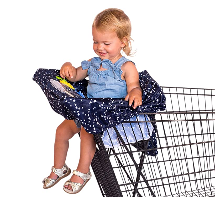 ROSIE POPE Shopping Cart & High Chair Cover, Navy Stars