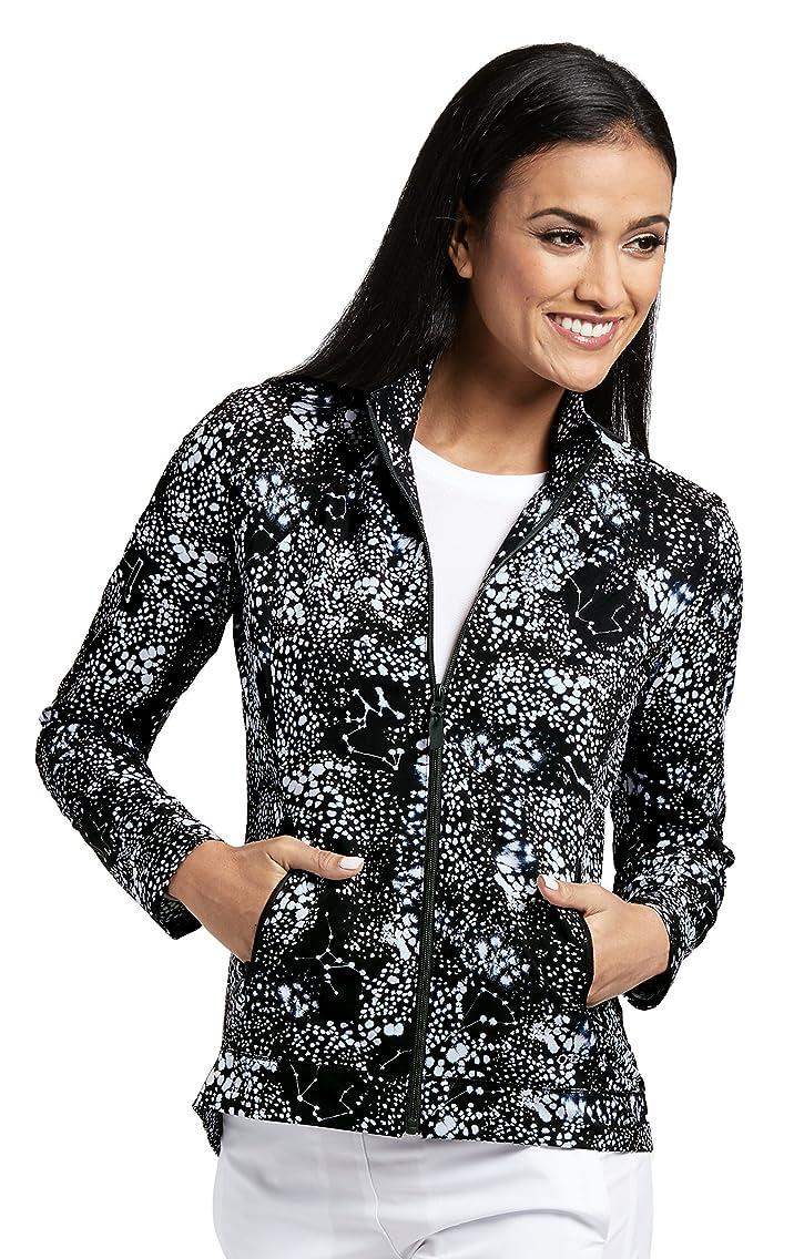 Barco ONE 2-Pocket Mock Neck Fashion Print Jacket for Women - Medical Scrub Jacket
