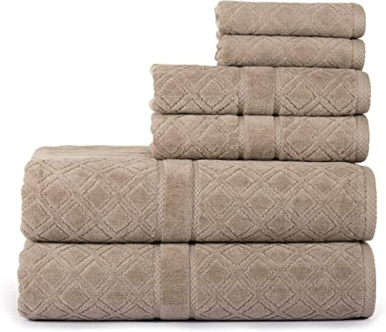 Casa Lino Jacquard Luxury 6 Piece Towel Set, 2 Bath...