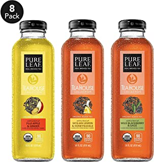 Pure Leaf, Tea House Collection, Organic Iced Tea Variety Pack, 14 fl oz. glass bottles (8 Pack)