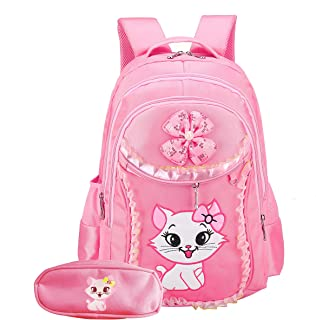 Cat Printed Girls Backpack Kids School Bookbag for Primary Students Pink