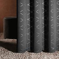 Deconovo Silver Foil Diamaond Printed Blackout Curtains 2-Panels Deals