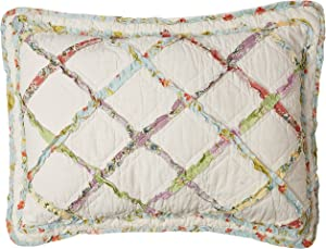 Laura Ashley Home | Ruffle Garden Collection | Premium Quality Pillow Sham, Decorative Pillow Case for Bedroom Living Room and Home Décor, Standard, Cream