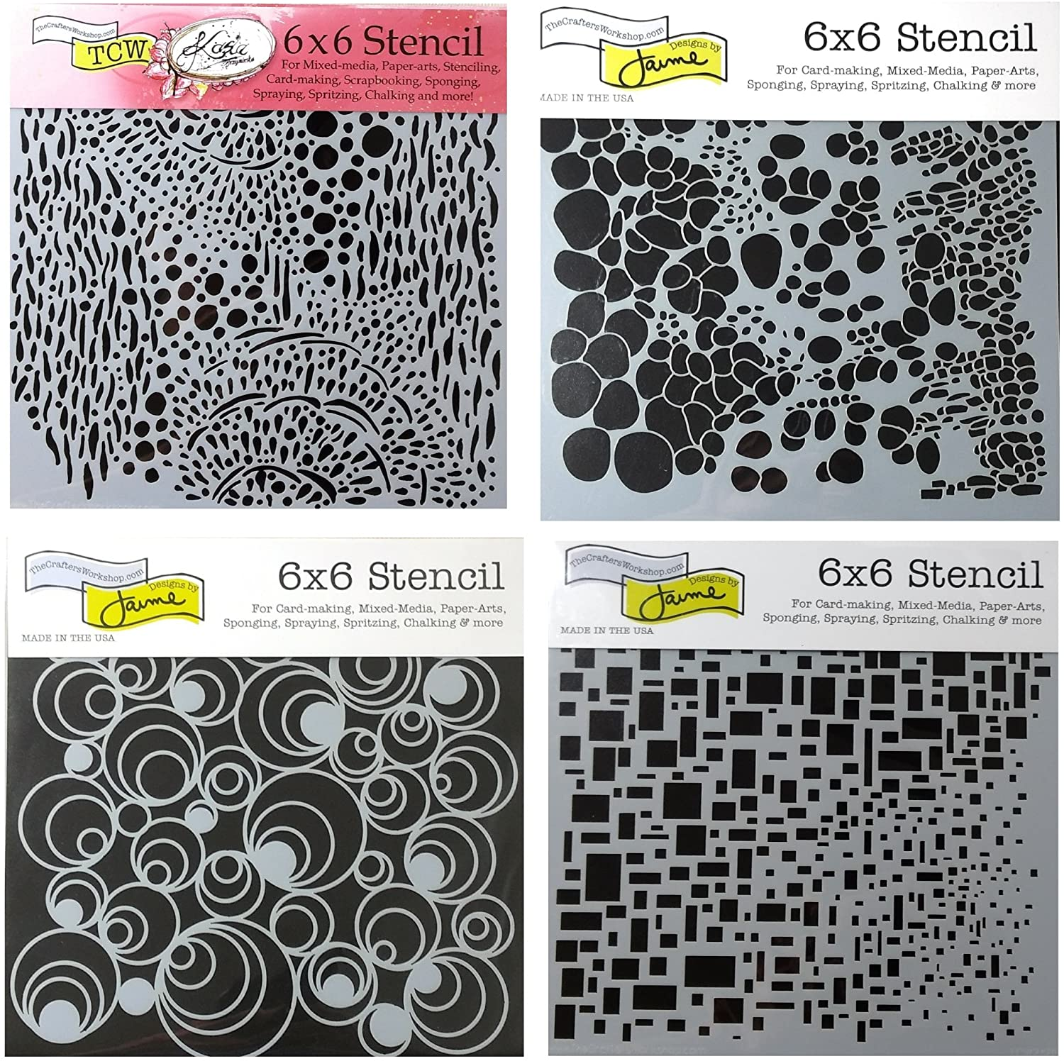 CRAFTERS WORKSHOP 4 Mixed Media Stencils Set | for Arts, Card Making, Journaling, Scrapbooking | 6 inch x 6 inch Templates | Cell Theory, Mod Spirals, Cubist, Sea Bubbles (Оne Расk)
