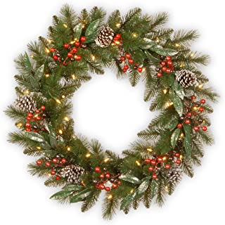 National Tree 30 Inch Frosted Pine Collection Wreath with Big Tipped Cones, Berries, Glittered Eucalyptus Leaves and 50 Battery Operated Warm White LED Lights with Timer (FPB-300-30WB-1)