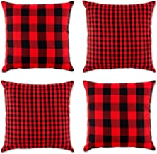 DII Gingham/Check Pillow Cover, 18x18, Red/Black