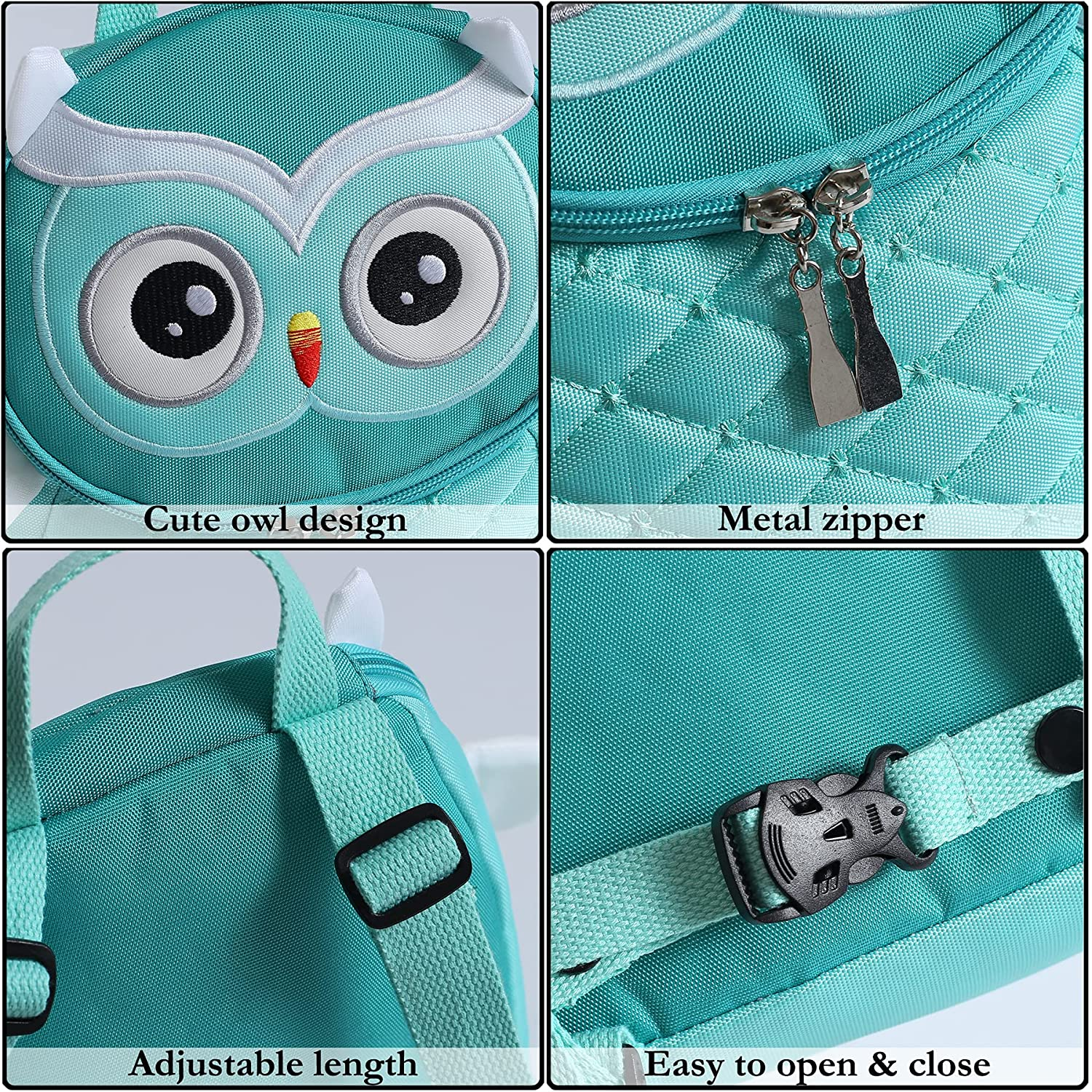 Owl Toddler Kids Leash Backpack with Anti Lost Wrist Leash Link Wristlets (Owl Green)