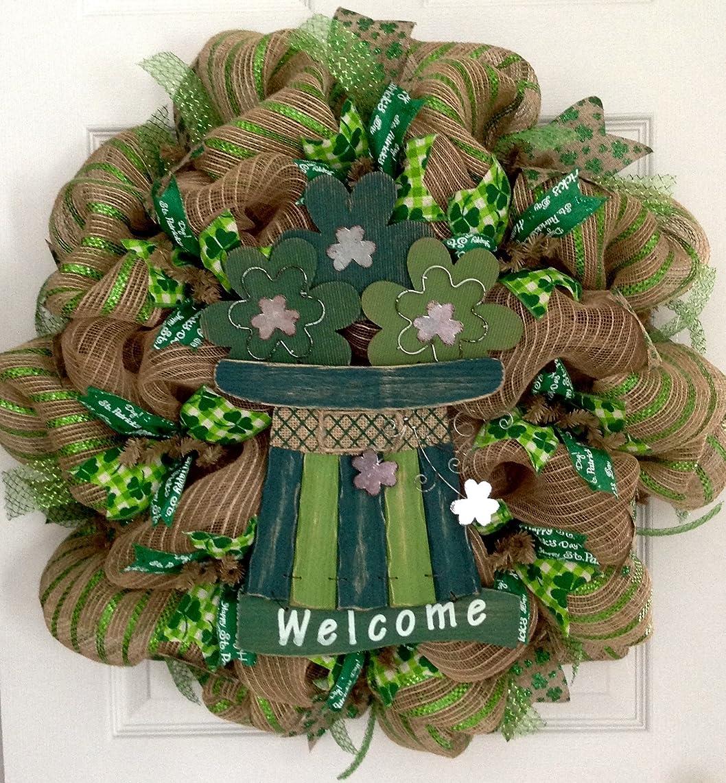 St Patricks Day Burlap Leprechaun Hat Handmade Deco Mesh Wreath