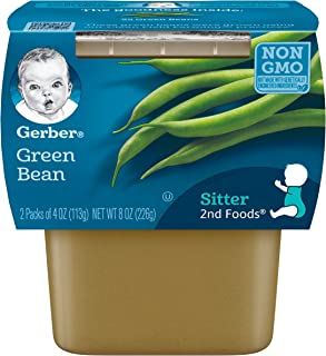 Gerber 2nd Foods Green Beans Pureed Baby Food, 4 Ounce Tubs, 2 Count (Pack of 8)
