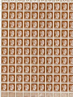 FULL AND COMPLETE GERMAN WWII HITLER HEAD STAMP SHEET OF 100 STAMPS 3 RPF VALUE. FULL GUM
