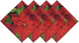 Christmas Poinsettia Celebration Fabric Napkin Set, 4 Piece Napkin Set