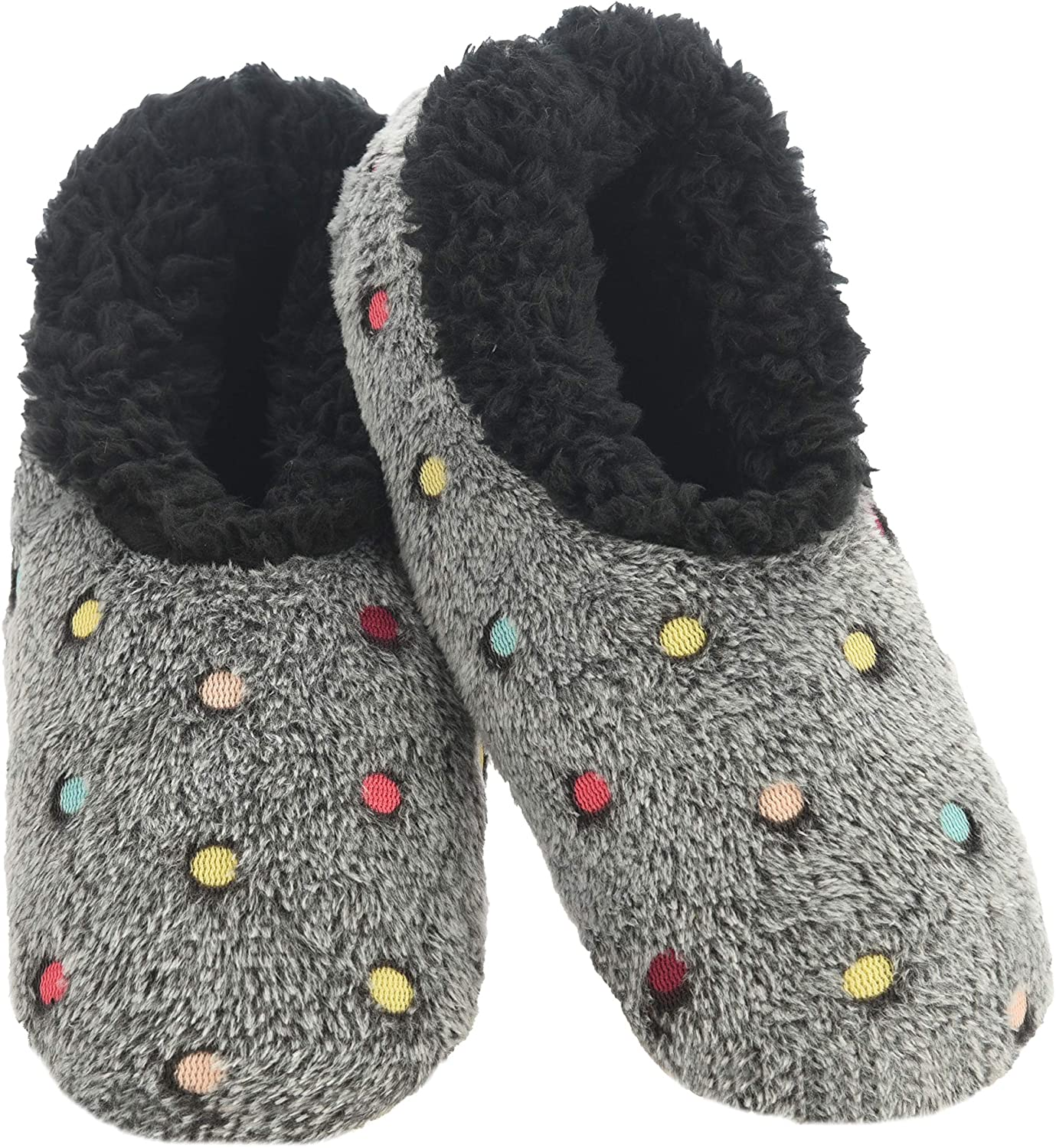 Snoozies Slippers for Women | Lotsa Dots Colorful Cozy Sherpa Slipper Socks | Womens House Slippers | Cozy Slippers for Women | Colorful Womens Fuzzy Slippers