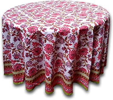 Floral Tablecloth for Round Tables Pink Red Green White Cotton Floral Kitchen Table Linen Round 90 inches