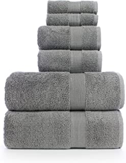6 Piece Turkish Luxury Turkish Cotton Towel Set - Eco Friendly, 2 Bath Towels, 2 Hand Towels, 2 Wash Clothes (6, Wide Border-Gry)