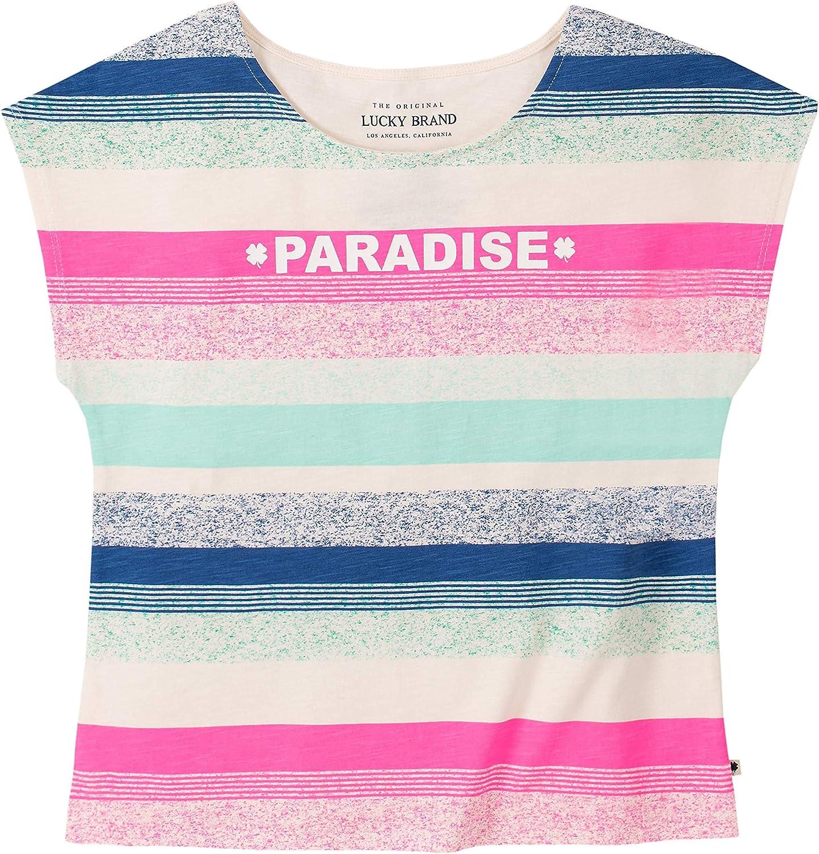 Lucky Brand Big Girls' Short Sleeve Stripe Tee Shirt