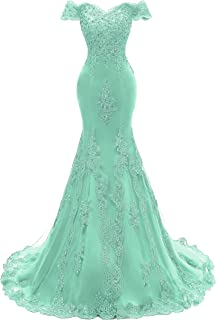 Himoda Women's V Neckline Beaded Evening Gowns Mermaid Lace Prom Dresses Long H074