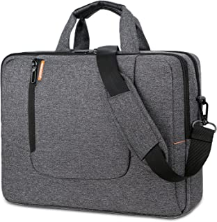BRINCH 15.6 Inch Laptop Bag Large Capacity Water Resistant Mens/Womens Travel Business Laptop Briefcase Computer Shoulder Bag Messenger Case with Strap for 15-15.6 Inch Laptop/Notebook,Dark Grey