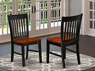 East West Furniture Norfolk Formal Dining Chair with Plain Wood Seat in Black and Cherry Finish (Set of 2), Black & Cherry