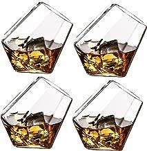 The Wine Savant Diamond Whiskey, Scotch, Bourbon or Wine Glasses, Set of 4