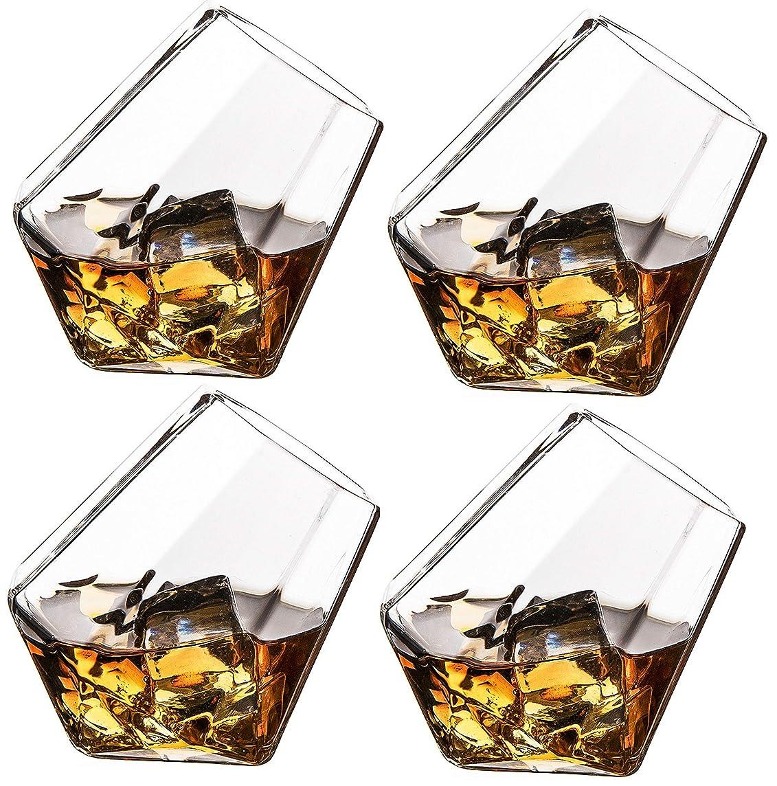 謙虚な岸アクセルTheワインSavantダイヤモンドウイスキー、スコッチ、バーボンまたはワイン、メガネのセット4で美しいギフトボックス