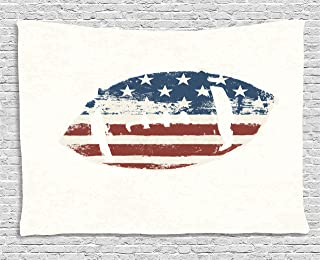 Ambesonne Sports Tapestry, Grunge American Flag Themed Stitched Rugby Ball Vintage Design Football Theme, Wide Wall Hanging for Bedroom Living Room Dorm, 60