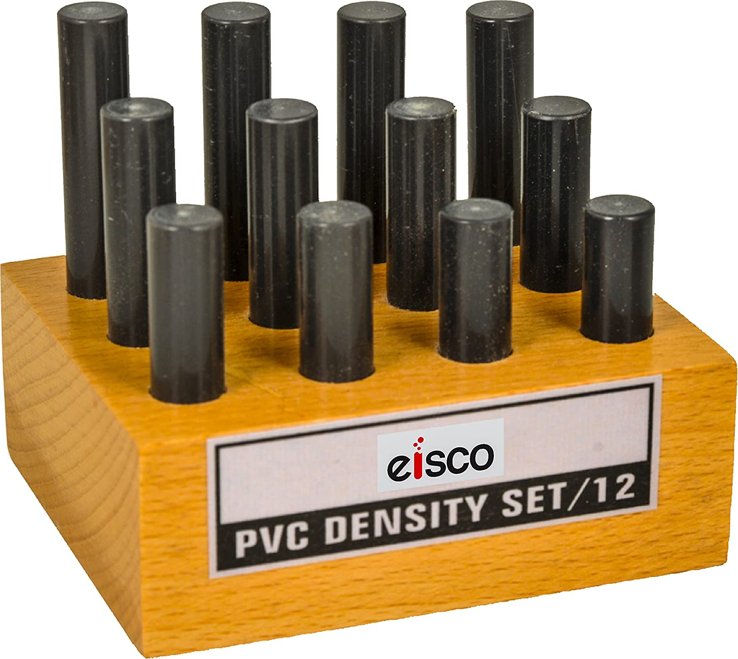 Eisco Labs PVC Density Set, 12 Rods, Varying Length with Holder