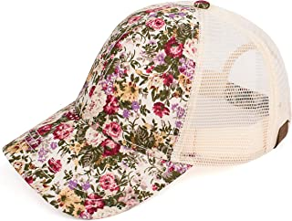 Hatsandscarf C.C Exclusives Flower Pattern Mesh Trucker Baseball Cap