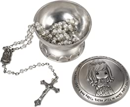 Precious Moments 172409 May His Light Shine in Your Heart Today & Always Girl First Communion Rosary & Silver Zinc Alloy Rosary Box