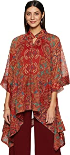 Ritu Kumar Key Hole Neck 3/4 Sleeve Short Printed Asymmetrical Kurti with Camisole