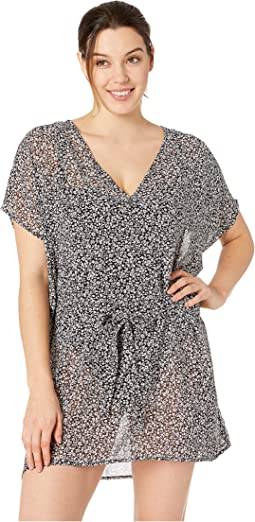 Shadow Floral Belted V-Neck Caftan Cover-Up